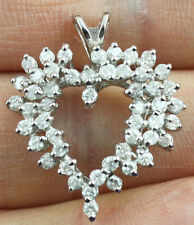 Beautiful natural 14 k white gold heard pendant 1 carat real diamonds 3.6 gram