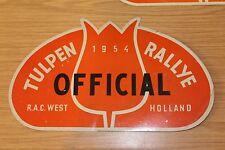 Tulip Rally Original Rally Plate Tulpen-Rallye Official Car 1954