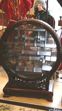 """EARLY 20c CHINESE VITRINE DISPLAY ON STAND RED STAINED BUBINGA W/""""FULL-MOON""""CASE"""