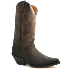 MENS GRINDERS BUFFALO BROWN LEATHER COWBOY WESTERN TALL POINTED BOOTS