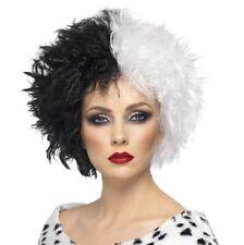 Mujer Disfraz de Halloween EVIL Madame Cruella Peluca Negra / blanco NUEVO DE