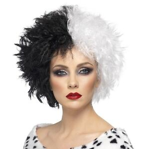 Ladies Fancy Dress Evil Madame Cruel Lady Wig Black/White by Smiffys