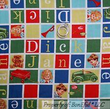 BonEful Fabric FQ Cotton Quilt Red Blue Letter Baby Boy Girl Block VTG Dick Jane