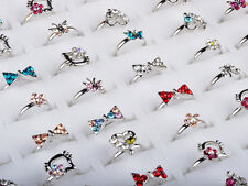 20Pcs Wholesale Mixed Silver Plated kid Cocktail Party CZ Crystal Rings Jewelry