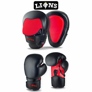 BOXING PADS AND SPARRING GLOVES SET Focus Hook Jabs MMA Mitts Punch Training