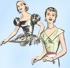 1950s Vintage Advance Sewing Pattern 8339 Easy Uncut Misses Blouse Set Size 31B