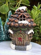 Miniature Dollhouse FAIRY GARDEN Mini Snow CHRISTMAS Pinecone House w LED Light