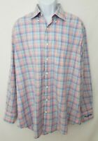 Peter Millar Mens XL Multi-color Rainbow Plaid Button Dress Shirt Firestone C.C.