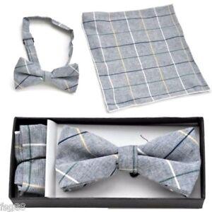 New Pre Tied Bow Tie Pocket Gray Tan White Hankie Handkerchief Plaid Checkers