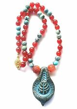 VINTAGE CHINESE NATURAL TURQUOISE CARVED CARNELIAN ATARA LAYERING NECKLACE