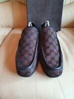 Gucci Mens Shoes  Brown Black Monogrammed  Loafers UK  7.5   US  8.5   EU 41.5