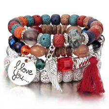 Women Red Boho Multilayer Natural Stone Bead Tassel Pendant Chain Bracelet Charm