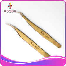 2 pieces/set eyelash Stainless Steel Tweezers Gold Antistatic Curved/Bent Curler