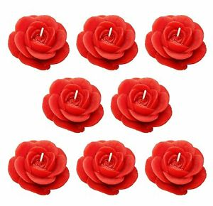 RED ROSE Scented Wax Decorative Smokeless Candle - (Set of 8)