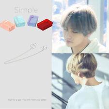 Fashion KPOP BTS V Earrings Bangtan Boys V Stud Double Ring Chain Charm Earrings