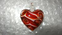Art Glass Carousel Dichroic Red Swirl Heart Pendant Oranment