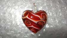 Art Glass Carousel Dichroic Red Swirl Heart Pendant Oranment