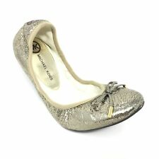 Women's Michael Kors Ballet Flats Shoes Size 7 M Gold Crackled Leather Bow AE8