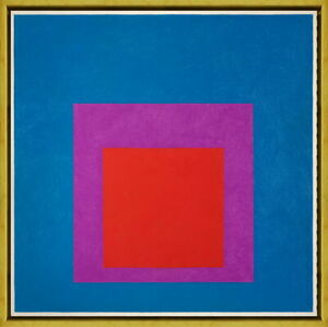 Framed Josef Albers Homage to the Square Red Brass Giclee Canvas Print Poster