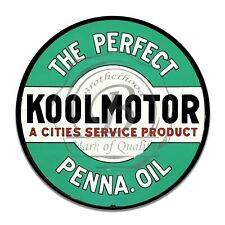 High Test Koolmotor The Perfect Penna Oil Reproduction Circle Aluminum Sign