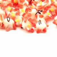 Lot (10) 10mm Czech vintage lampwork pink red bicolor glass flower beads