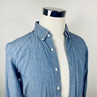 Uniqlo Mens Small Slim Fit Shirt Blue Chambray Cotton White Dot Button Down