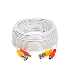 100FT White Premade BNC Video Power Cable/Wire for Security Camera, CCTV, DVR, &