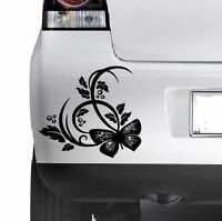 BUTTERFLY FLOWER STICKER Car Bumper Van Window Wall Laptop JDM VINYL DECALS