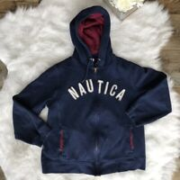 Nautica -Size L- Women's Navy Blue Full Zip Hoodie Jacket Drawstring Long Sleeve
