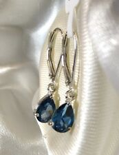 1.5 Ct, London Blue Topaz Earrings, Lever Back, Dangle, Sterling Silver