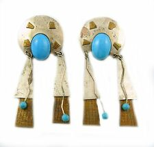 BIG Vintage 1970s Handmade Modernist Sterling & Turquoise Native Tribal EARRINGS