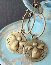Bronze Angel Charm Lever Back Hoop Dangle Earrings. Love. Hearts