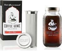2 Quart ~ Cold Brew Coffee Maker ~ 64 oz Wide Mouth Mason Jar ~ Coffee Genie