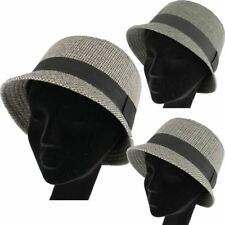 TWEED CHECK CLOCHE HAT WITH WIDE BAND WOOL BLEND LADIES VINTAGE STYLE