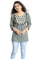 Women Indian Short Kurti Tunic Kurta Shirt Dress Printed Cotton NK10 GREEN