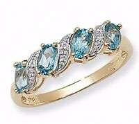 Anillo De Eternidad Topacio Azul y Diamante Oro Amarillo Tallas Grandes R-Z