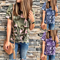 Women Short Sleeve Camo T-Shirt Top Lady Summer Casual Loose Blouse Tee Holiday