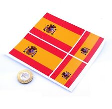 "Spain Flag Stickers x4 3"" & 2"" Spanish Car Vinyl Rally Racing Window Decals"