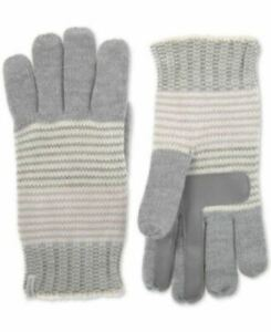 Isotoner Signature Women's Touchscreen Striped Lurex Gloves, Gray/White/Lilac