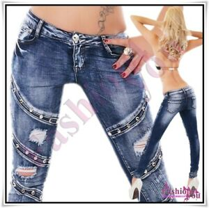 Women's Denim Jeans Skinny Ripped Low Rise Sexy Ladies Trousers Size 6-12 UK