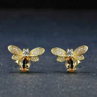 UK Lovely Bee Stud Elegant Chic Earrings Natural Citrine Jewelry For Ladies