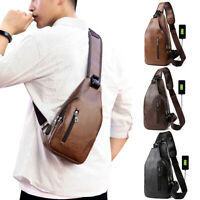 Men's PU Leather Chest Sling Bag Shoulder Pack USB Charging Crossbody Handbag