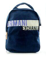 BRAND NEW MEN'S ARMANI EXCHANGE A|X LOGO STRIPE NAVY BLUE BACKPACK BOOKBAG BAG