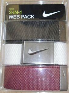 """NEW NIKE 3 IN 1 WEB PACK GOLF BELT - One size fits all up to 42"""" - Mult Colors"""