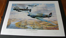 Aviation Art - Battle of Britain Flight. Artist and Aircrew signed