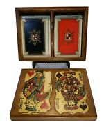 Vintage Lahire & Hogier Playing Cards Double Deck with Beautiful Wooden Box