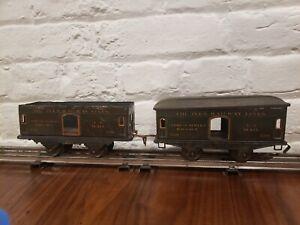 2- Ives 550 Express Mail Car Olive Litho 4 Wheel Prewar O Gauge