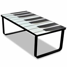 S# Modern Indoor Coffee Table Tempered Glass Top 5mm Piano Printing Metal FR