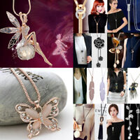 Women's Pearl Crystal Pendant Long Tassel Chain Sweater Necklace Jewelry Gift
