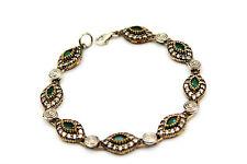 Damen 925 Sterling Silber Armband Oval, Kristall Zirkonia Kristall Schmuck NEU